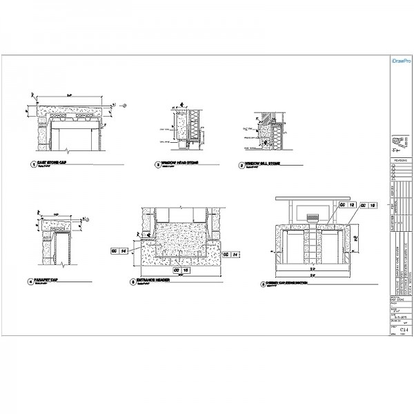 Cast Stone Shop Drawings with cut tickets