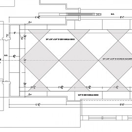 Stone floor shop drawings including floor plans, elevations and details.