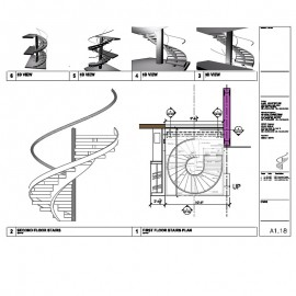 Circular Stairs Shop Drawings with 3D Model