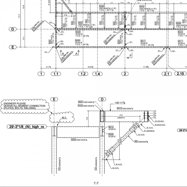 Structural steel shop drawings with erection and fabrication drawings