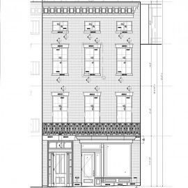 Brownstone shop drawings for window trim, band and steps