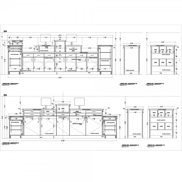 Cabinets Shop Drawings for Bar Restaurant (simplified)
