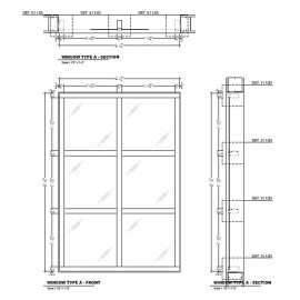 Aluminum frame windows shop drawings