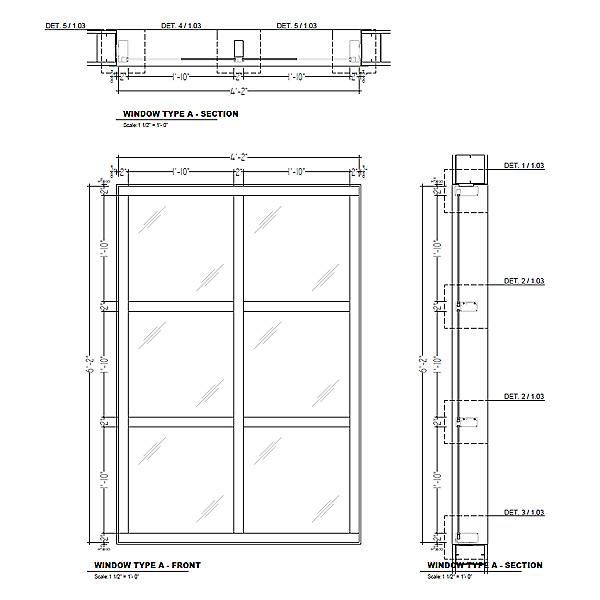 Aluminum frame windows shop drawings